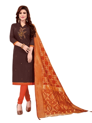 Kimisha Women's Maroon Slub Cotton Hand Work Dress Material With Banarasi Dupatta