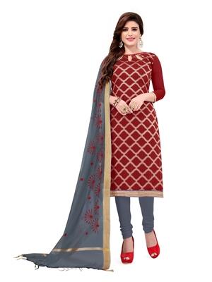 Kimisha Women's Red & Grey Banarasi Jacquard Dress Material With Thread Work Modal Silk Dupatta
