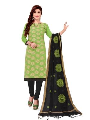 Light-green jacquard banarasi cotton salwar