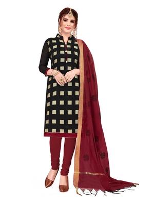Black jacquard banarasi cotton salwar
