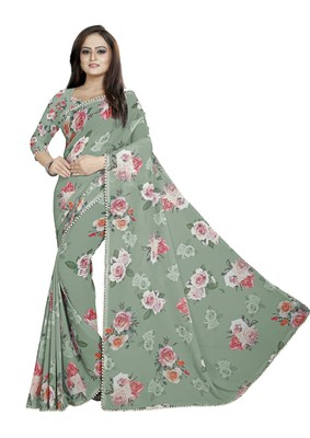 Dark Grayish Lime Green Color Digital Printed Georgette Saree With Blouse