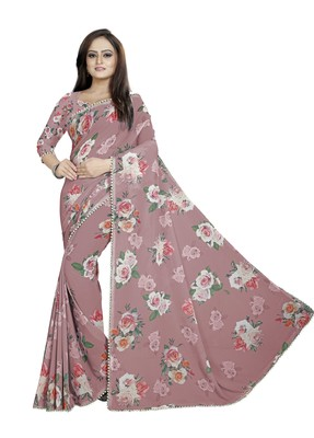 Mostly Desaturated Dark Red Color Digital Printed Georgette Saree With Blouse