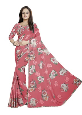 Moderate Red Color Digital Printed Georgette Saree With Blouse