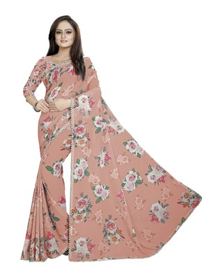 Slightly Desaturated Red Color Digital Printed Georgette Saree With Blouse