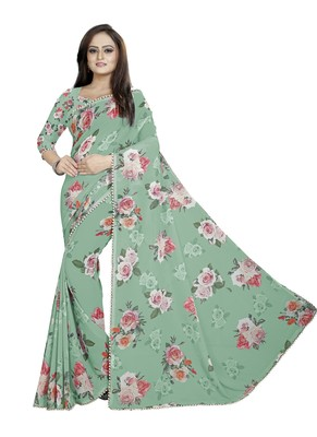 Dark Grayish Cyan - Lime Green Color Digital Printed Georgette Saree With Blouse