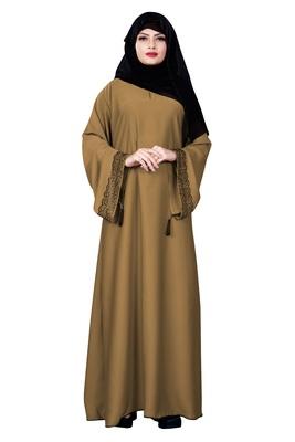 Beige Color Casual Wear Nida Abaya Burqa With Hijab