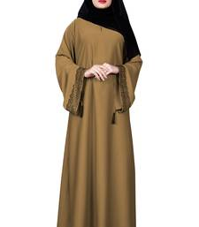 Beige Color Casual Wear Nida Abaya Burqa With Hijab