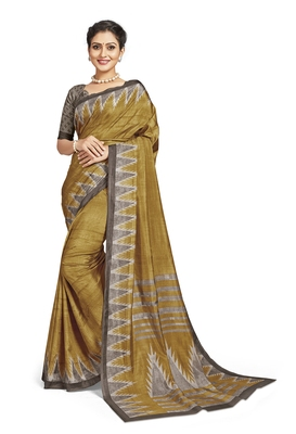 Green printed tussar silk saree with blouse