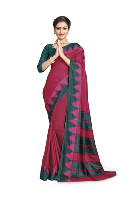 Red printed tussar silk saree with blouse