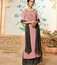 Baby-pink embroidered viscose ethnic-kurtis