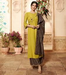 Mustard embroidered viscose ethnic-kurtis