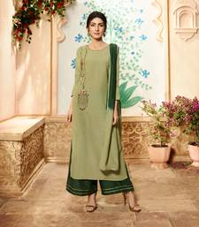 Light-olive embroidered viscose ethnic-kurtis