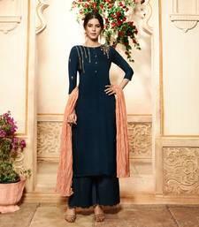 Navy-blue embroidered viscose ethnic-kurtis