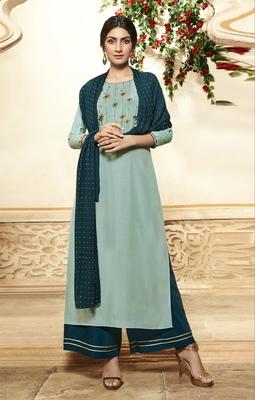 Light-turquoise embroidered viscose ethnic-kurtis