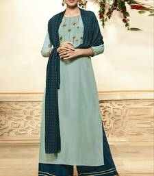 Light-turquoise embroidered viscose ethnic-kurtis