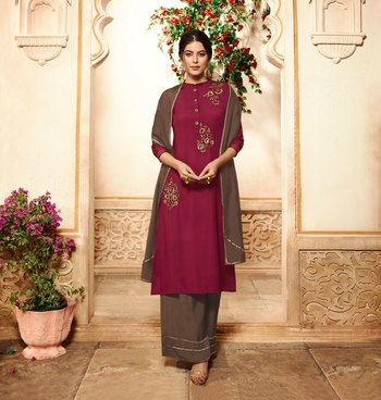 Maroon Embroidered Viscose Ethnic Kurtis