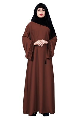 Peach Color Casual Wear Nida Abaya Burqa With Hijab