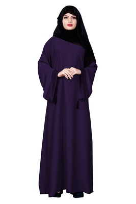 Purple Color Occasion Wear Nida Abaya Burqa With Hijab