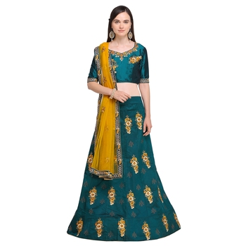 Sea-green embroidered velvet semi stitched lehenga