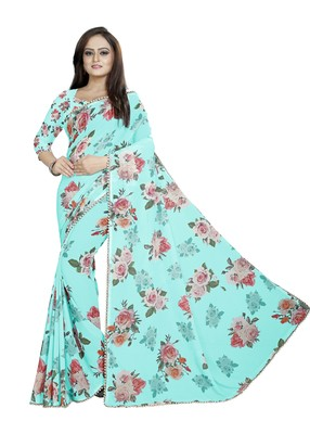 Very Soft Cyan Color Digital Printed Georgette Saree With Blouse