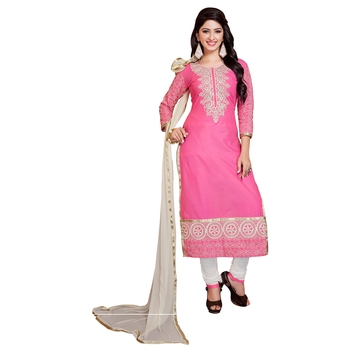 Pink embroidered cambric salwar