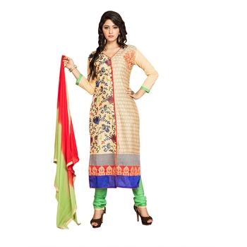 Beige embroidered cambric salwar