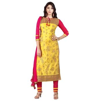 Yellow embroidered cotton salwar