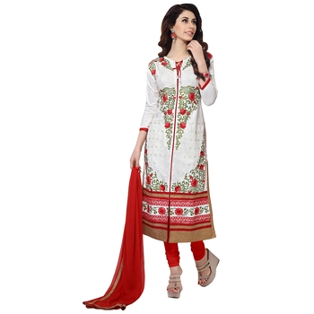 White embroidered cambric salwar