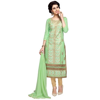 Green embroidered cambric salwar