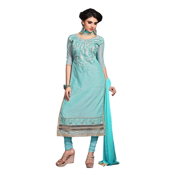 Blue embroidered chanderi salwar
