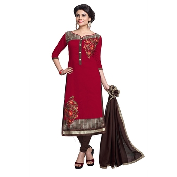 Red embroidered chanderi salwar