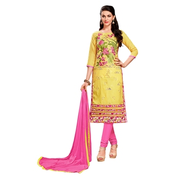 Yellow thread faux cotton salwar