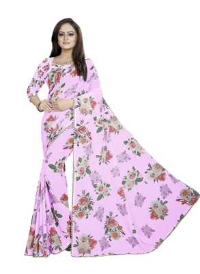 Very Soft Magenta Color Digital Printed Georgette Saree With Blouse