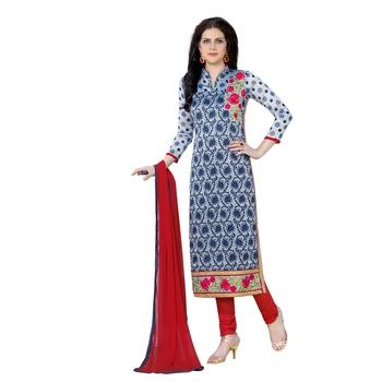 Blue thread faux cotton salwar
