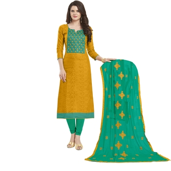 Orange Embroidered Jacquard Salwar