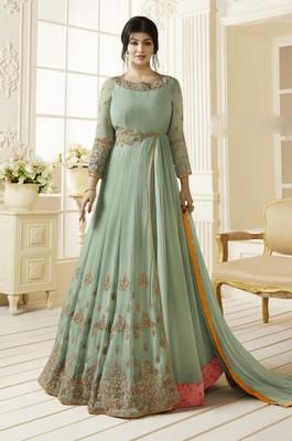 cyan embroidered Georgette Partywear Salwar Kameez Semi Stitched