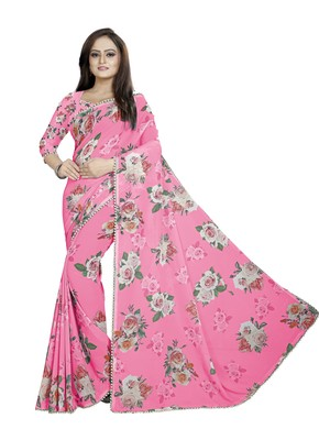 Soft Pink Color Digital Printed Georgette Saree With Blouse
