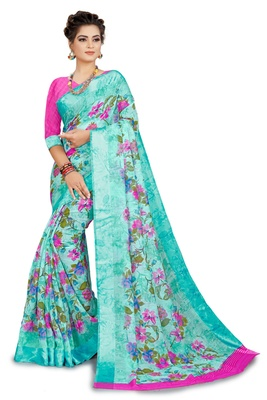 Dark green printed linen saree with blouse