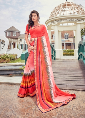 Raspberry printed georgette saree with blouse