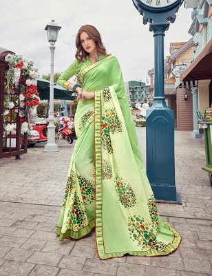 Lime printed georgette saree with blouse
