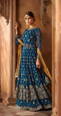 Aqua-blue embroidered faux georgette salwar