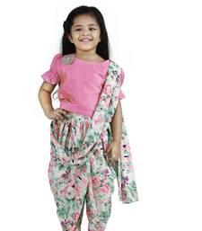 Peach Choli with Multicolour Dhoti Saree Set for girls