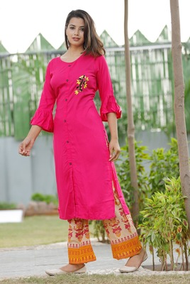Indian Women' Rayon Kurta With Palazzo Set Round Neck  Embroidered Traditional