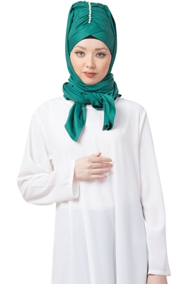 Green embroidered polyester hijab