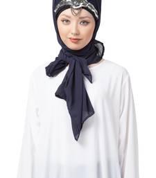 Black embroidered georgette hijab