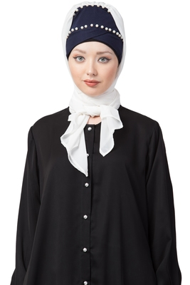 White Embroidered Georgette Hijab