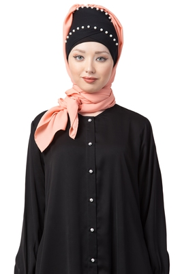 Peach embroidered georgette hijab
