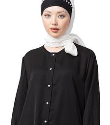 White embroidered polyester hijab