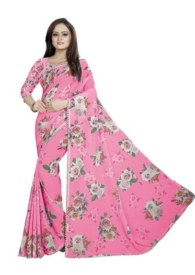 Light Pink Color Digital Printed Georgette Saree With Matching Blouse