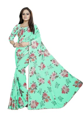 Cyan and  Lime Green Color Digital Printed Georgette Saree With Matching Blouse